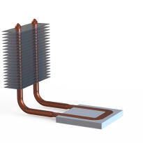 Heat pipe snapped fin assembly render
