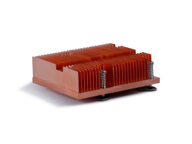 Skived Copper heatsink with backplate and push pins